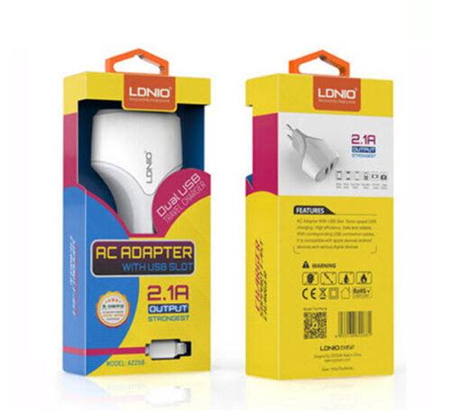 آداپتور ال دی نیو با کابل میکرو2268 قابلیت شارژ گوشیهای اندروید دو پورت یو اس بی 2.1آمپر