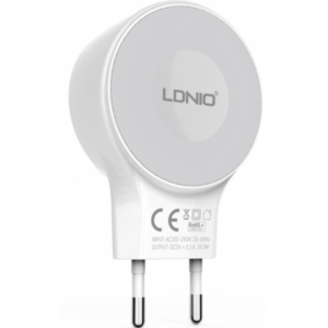 آداپتور ال دی نیو با کابل میکرو۲۲۶۹ قابلیت شارژ گوشیهای اندروید دو پورت یو اس بی ۲٫۱آمپر